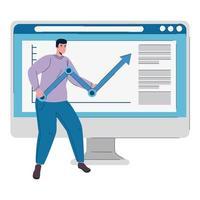computador desktop com homem levantando seta estatística vetor