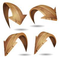 Conjunto de sinais de setas de madeira dos desenhos animados vetor