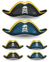 Conjunto de Chapéu de Pirata vetor