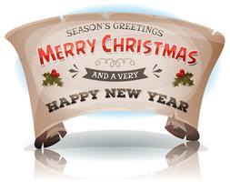 Feliz ano novo e feliz Natal em pergaminho vetor
