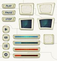 Ícones do espaço de ficção científica para jogo de interface do usuário vetor
