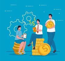 empresários sentados em moedas dinheiro dólares vetor