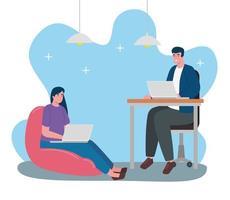 jovem casal sentado trabalhando em personagens de laptops vetor