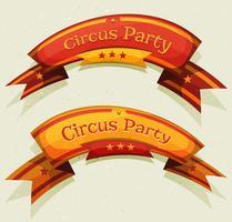 Banners e fitas de festa de circo em quadrinhos vetor