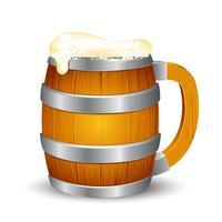 Caneca de cerveja de madeira vetor
