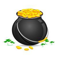 Pote de moedas de ouro do dia de saint patrick vetor