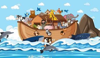 animais na arca de noé flutuando na cena do oceano vetor