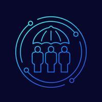ícone de vetor de linha de seguro familiar