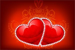 Coração decorado com diamantes vetor