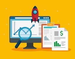 desktop e documentos financeiros com foguete vetor