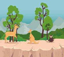 grupo de três animais selvagens na cena da savana vetor