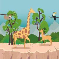 grupo de quatro animais selvagens na cena da savana vetor