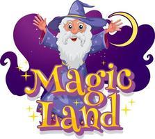 fonte de terra mágica com um personagem de desenho animado mago vetor