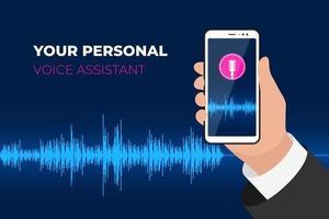 assistente pessoal e aplicativo móvel de reconhecimento de voz. mão segurando o smartphone com o botão do microfone na tela e o discurso soundwave. ilustração do vetor de tecnologia inteligente inteligente onda sonora