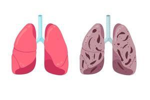 pulmões saudáveis e insalubres comparam o conceito. órgão interno do sistema respiratório humano forte e inflamação da pneumonia. ilustração vetorial de anatomia de condição médica de respiração de saúde vetor