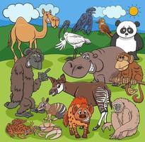 desenho animado engraçado animais selvagens personagens grupo vetor