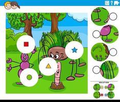 jogo de combinar peças para crianças com personagens de desenhos animados de insetos vetor