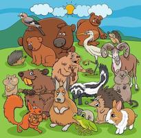 grupo de personagens em quadrinhos de animais selvagens de desenhos animados vetor