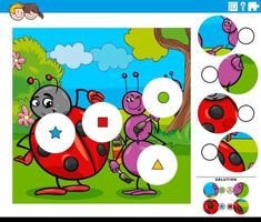jogo de combinar peças com personagens de desenhos animados de insetos vetor