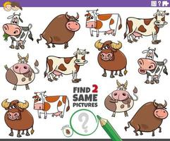 encontre dois mesmos desenhos animados gado fazenda jogo educacional vetor