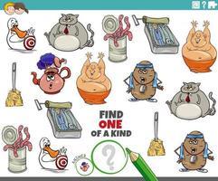 jogo único para crianças com personagens de desenhos animados vetor