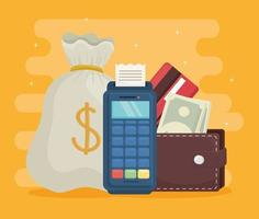 design de vetor de carteira e dataphone de bolsa de dinheiro