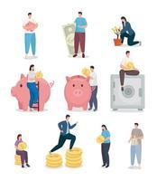 economizar dinheiro e pessoas com design de vetor de coleção de ícones de moedas