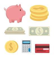 desenho de vetor de coleção de ícone de dinheiro