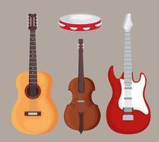 desenho vetorial de instrumentos violino e pandeiro vetor