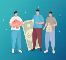 economizar dinheiro de homens segurando notas de porco e desenho vetorial de bolsa vetor