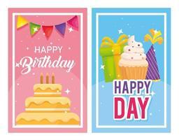Feliz aniversário, bolo e bolinho em desenho vetorial de banners vetor