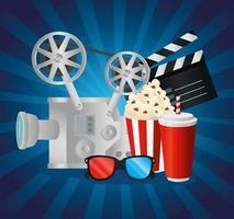 cinema videocamera comida ripa e óculos 3D vector design