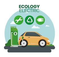 alternativa ecológica de carro elétrico na estação de carregamento vetor