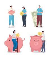economizar dinheiro e pessoas com design de vetor de conjunto de símbolos de moedas