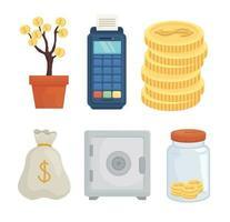 conjunto de símbolos de dinheiro desenho vetorial vetor