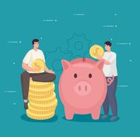 economize dinheiro de homens segurando moedas com design de vetor porquinho