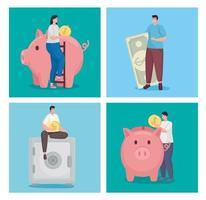economizar dinheiro e pessoas com design de vetor de coleção de símbolos de moedas