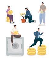 economizar dinheiro e pessoas com conjunto de ícones de moedas desenho vetorial vetor