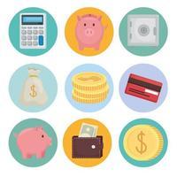 desenho vetorial de pacote de ícone de dinheiro vetor
