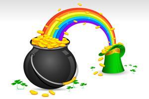 Chapéu de Saint Patrick e pote cheio de moedas de ouro vetor