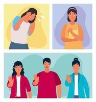 pessoas afetadas por personagens de bullying vetor