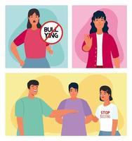 grupo de pessoas afetadas por bullying com caracteres de sinal de parada vetor