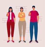 grupo de pessoas afetadas por personagens de bullying vetor