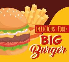 Desenho vetorial de hambúrguer de fast food e batatas fritas vetor