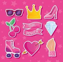 letras do poder feminino na moldura da fita e ícones vetor