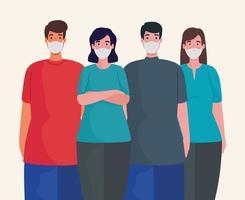 grupo de pessoas usando personagens de máscaras médicas vetor
