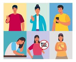 grupo de pessoas afetadas por cyber bullying e caracteres de sinal de parada vetor