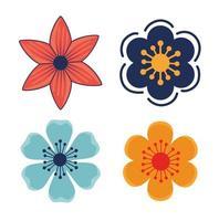 ícones de decoração de plantas de jardim de flores vetor