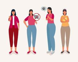 grupo de mulheres afetadas por personagens de bullying vetor