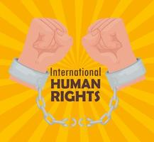 cartaz de letras internacionais de direitos humanos com as mãos quebrando algemas vetor